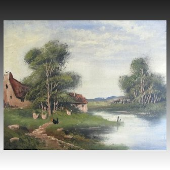 Antique 19th C Landscape Painting FARM Lake Hens Signed COUNTRY FRENCH Charm!