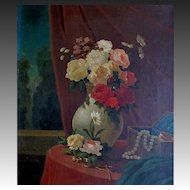 Antique 19th C FRENCH FLORAL Painting Bouquet ROSES with Jewelry DIVINE!