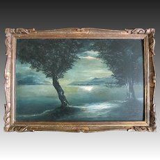Antique 19th C FRENCH SYMBOLISM Symbolist Painting Seascape at Moonlight Framed Signed DIVINE!