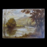 Vintage 30s FRENCH Painting CASTLE Lake Landscape SIgned Dated SPECTACULAR!
