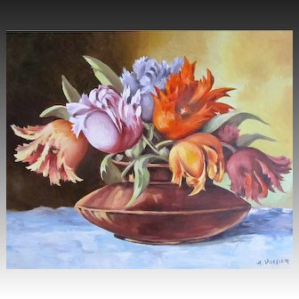 Vintage FRENCH Floral Painting Bouquet Flowers Tulips Signed Framed BREATHTAKING!