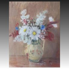 Vintage FLORAL Pastel Painting Flowers Bouquet Signed COUNTRY FRENCH CHARM!