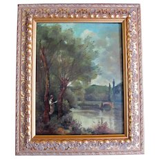 Antique French Edwardian Oil Painting LADY By Lake Signed Framed TO DIE FOR!