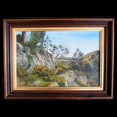 French Southern Landscape Painting yellow gorse pines rocks Signed REFRESHING!