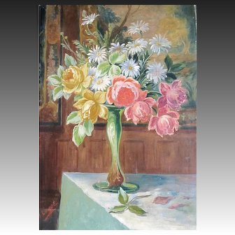 Antique EDWARDIAN French Painting Floral Bouquet ROSES Flowers Signed SPECTACULAR!