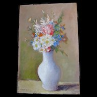 Vintage 70s FRENCH Floral Painting Flowers Bouquet Signed COUNTRY FRENCH CHARM!