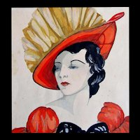 Vintage 30s Art DECO Watercolor Painting LADY in RED Portrait Dated SPECTACULAR!