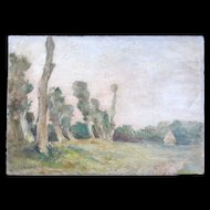 Antique c 1880 French IMPRESSIONISTIC Painting NORMANDY Landscape Signed Very RARE!