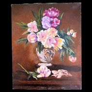 Vintage French FLORAL Painting Bouquet Flowers Signed MAGNIFICENT!