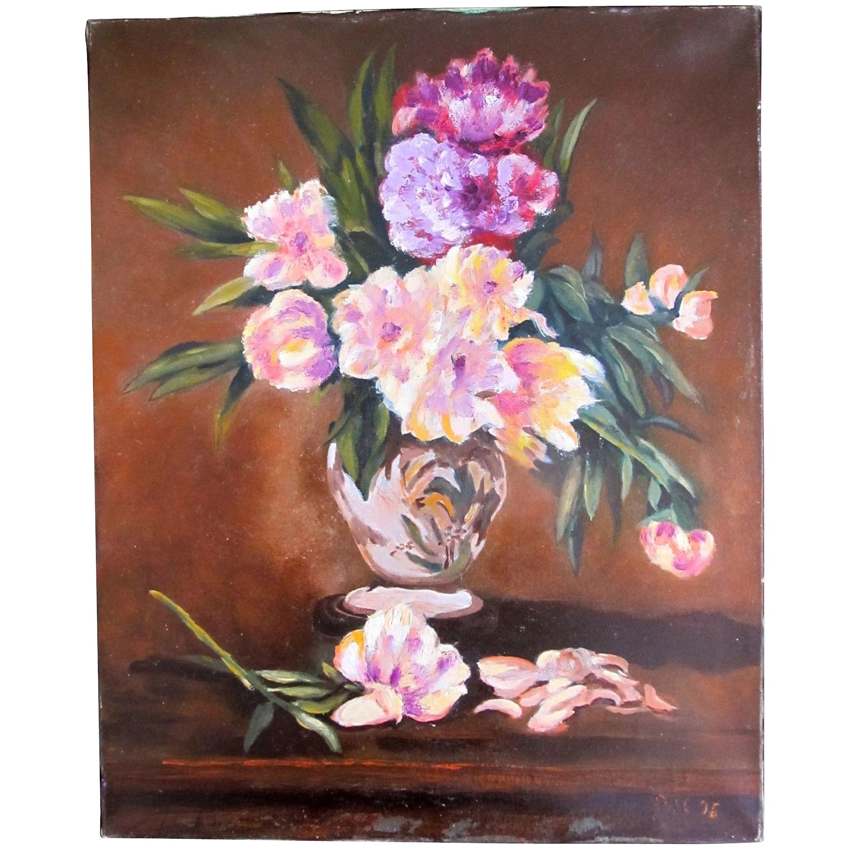 Vintage French Floral Painting Bouquet Flowers Signed Magnificent
