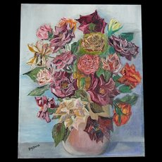 Vintage FRENCH Floral Painting ROSES Bouquet Signed SPECTACULAR!