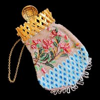 Antique NAPOLEON III 19th C French Beaded Purse Gilt Top  DIVINE!