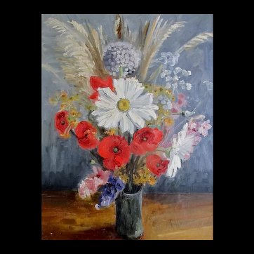 Vintage 60s Floral Painting Bouquet Flowers Daisies Poppies Country FRENCH CHARM!