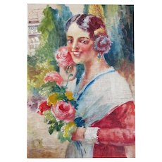 Vintage French ART DECO Painting Lady from Nice with Roses Signed ADORABLE!