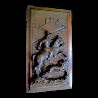 Antique French Nouveau Wood Carving Panel Knight on Horse Castle Large FABULOUS!