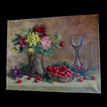Vintage 30s Still Life Painting Flowers CHERRIES Large Signed COUNTRY FRENCH CHARM!