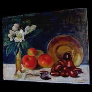 Antique 1916 FRENCH Still Life Painting Flowers Fruit SIgned POWERFUL!