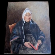 French EDWARDIAN Portrait Painting Normandy Lady With Coiffe LARGE FABULOUS!