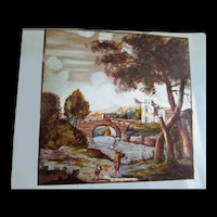 Antique 18th C Pair FRENCH Paintings on Glass Landscapes with Characters DIVINE!