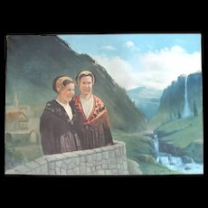 Vintage 70s Painting Ladies in SWISS Landscape Very LARGE Signed FUN & FABULOUS!