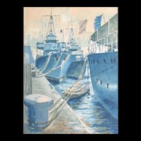 Vintage WWII 40s French Watercolor Painting  Military Ships SIGNED Dated STRONG PIECE!