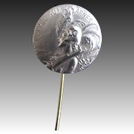 Antique WWI Stickpin Pin with Art NOUVEAU Lady Signed Willette Very RARE!