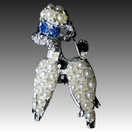 Vintage Animal Pin Brooch White POODLE Faux Pearls Blue Rhinestones ADORABLE!