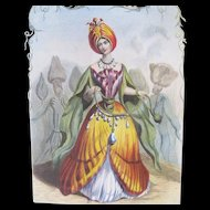 Antique GRANDVILLE Print Lady FLOWERS Engraving with Watercolor TULIP 19th C Century Signed!