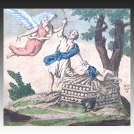 Antique 18th C Century French Religious Print Engraving With Watercolor 1 ANGEL And Abraham EXCEPTIONAL!