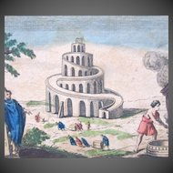 Antique 18th C Century French Religious Print Engraving With Watercolor 3 TOWER Of BABEL EXCEPTIONAL!