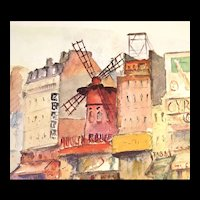 Vintage 50s Large French Print Litho PARIS Scene MONTMARTRE Signed Very POETIC!