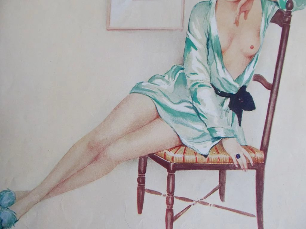 Vintage 30s French Art Deco NUDE SIGNED Print Risque RARE