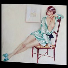 Vintage 30s LISTED French Art Deco NUDE SIGNED Print Risque RARE!