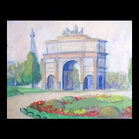 Vintage 50s PARIS Watercolor Painting Tuileries Gardens Eiffel Tower SIGNED EXQUISITE!