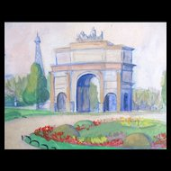Vintage 50s PARIS Watercolor Painting Tuileries Gardens Eiffel Tower SIGNED EXQUISITE!