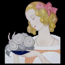 Vintage French ART DECO 20s Print Lady with Roses Signed Pichon DIVINE!