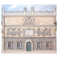 Vintage French Architectural Print AVIGNON House LARGE Signed EXQUISITE!