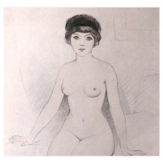 Vintage French Art DECO Print Waking Nude Signed Brisgand ADORABLE!