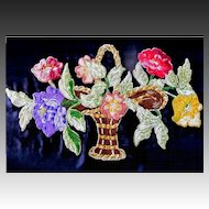 Vintage 20s LARGE French Art DECO Floral Embroidery HUGE Flowers Appliques Absolutely STUNNING!
