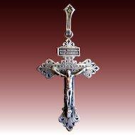 Antique LARGE French Edwardian Silvered Cross FLEUR de Lis Jesus HEART LATIN Inscription EXQUISITE!