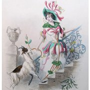 Antique GRANDVILLE Print Lady FLOWERS Engraving with Watercolor Honeysuckle 19th C Century Signed!