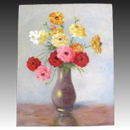 Vintage 30s Country FRENCH Floral Painting OIL Simple Fresh EXQUISITE!