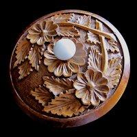 Vintage 50s Country FRENCH Folk Box CARVED Turned Wood Porcelain Knob Super CHARMING!