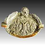 Vintage 70s French Bronze Ashtray Roman Head Eagle Armor Crown Tobacciana RARE!