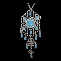 Vintage 70s Southwestern Turquoise Enamel MASSIVE Pendant Necklace Silvertone SPECTACULAR!