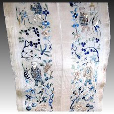 Antique Chinese QING Embroidery Panels Embroidered Sleeves Sleevebands 19th C DIVINE!