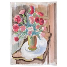 Vintage 40s FRENCH Floral Watercolor Painting Flowers Bouquet LARGE Signed FABULOUS!