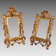 Antique pair of gilt metal frames, 19th century