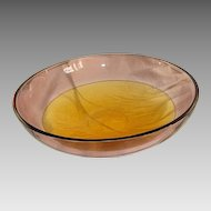 Rose and amber glass by bowl signed by Alfredo Barbini, dated about 1970