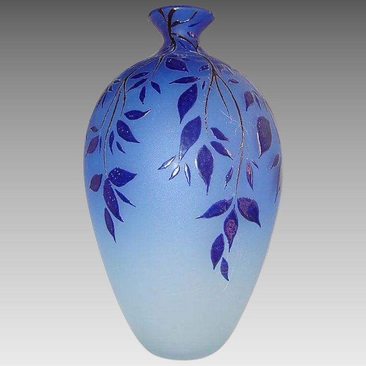 Blue Murano Glass Vase Made By Canal Chateau Antique Ruby Lane